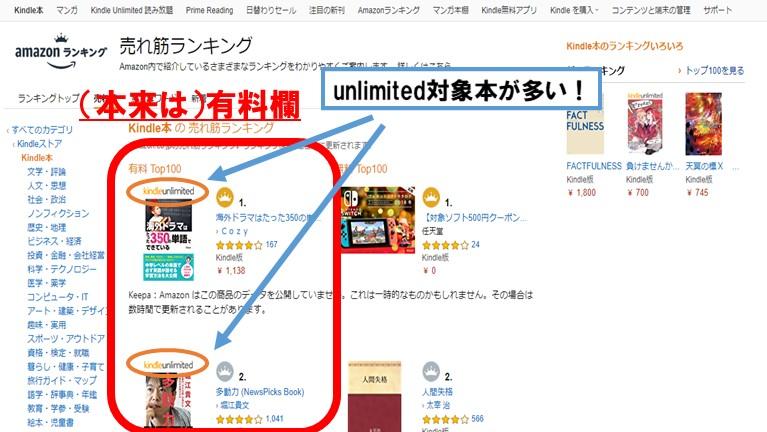 売れ筋ランキングでKindle unlimitedの良書を探す