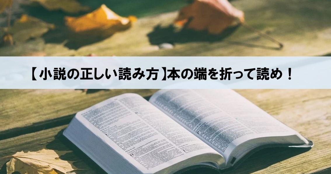 【小説の正しい読み方】自分の成長に繋げるには、本の端を折りながら読め!_アイキャッチ画像