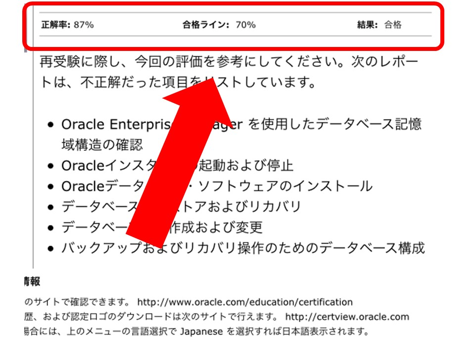ORACLE MASTER BRONZE DBA合格通知書